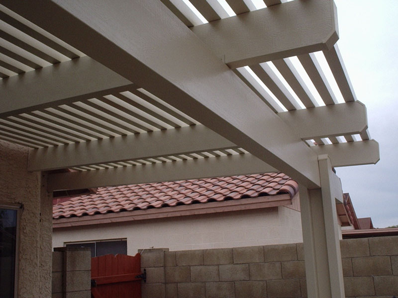 Lattice patio roof cover using aluminum materials. Phoenix Az