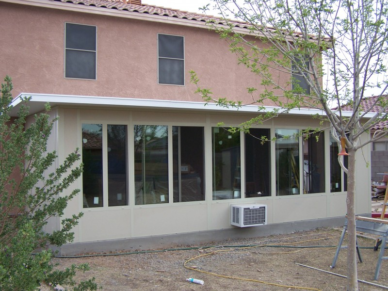 Straight eave patio enclosures arizona enclosures and for Modular sunrooms