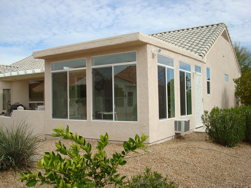 Custom Built Sunroom Room Addition With In Wall Air Condition Unit.  Maricopa County, Arizona